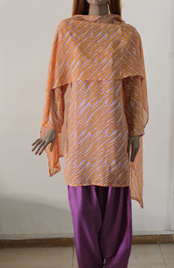 Violet Orange Plus Size Salwar Kameez