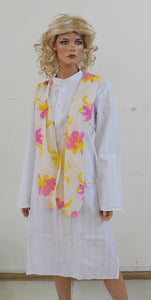 White Flower Long Shawl Dupatta Designer Long Stole Fashion Street Stole