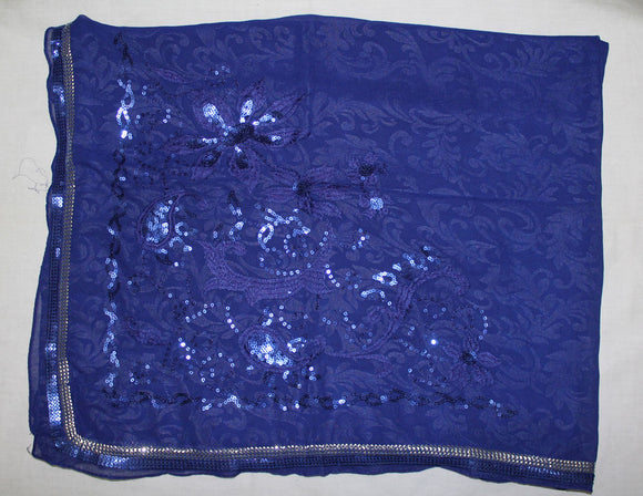 Royal Blue Beaded Bridal Hijab