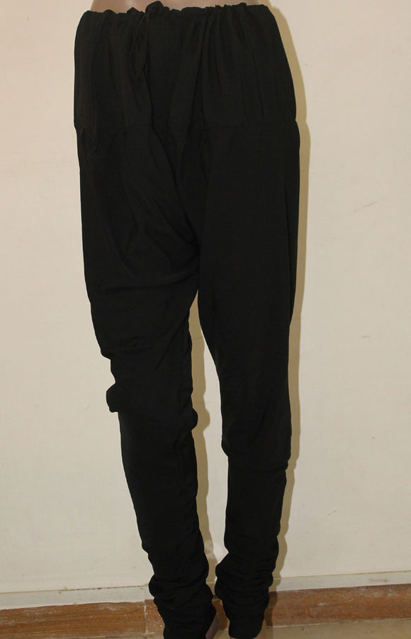 Black Crepe Churidar Leggings