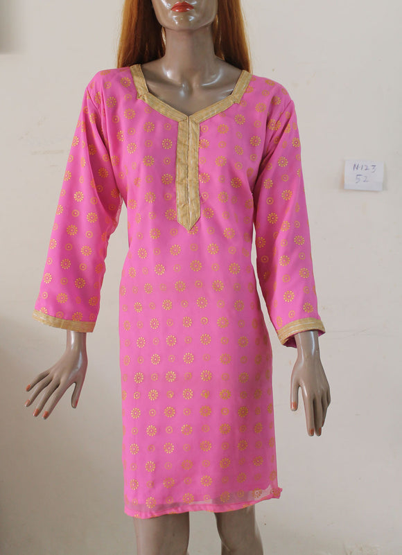 Pink N123 jacquard Indian Clothing Women Kurta Tunic Dress Free Dupatta Plus Size 52
