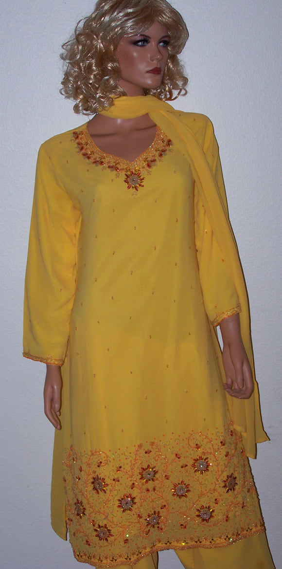 Yellow Crepe Women India Salwar kameex chest 42