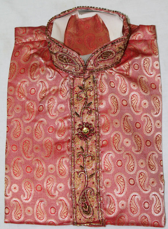 Burgundy jacquard Indian Boys Kurta Salwar Sherwani