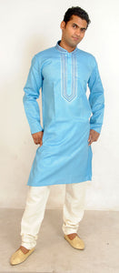 Blue Embroidered Men Kurta Set