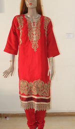 Red D448 Chiffon Party Wedding Indian Wear Plus size 52