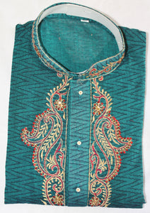Green M57 Mens Kurta Salwar Cotton Free Shawl Small