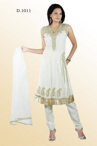 White Net Anarkali Churidar