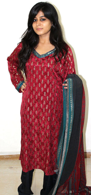 Red Salwar kameez Plus size 52