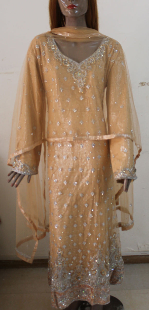 Gold Long Dress Abaya Kaftan Islamic Wear Plus size 48