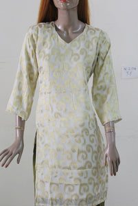 Cream Gold Pure Exclusive Wedding Party Wear Kurta Top N204 Chiffon Chest Size 36