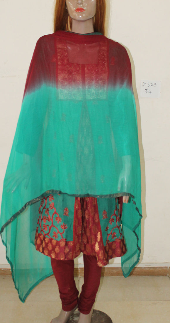 Green Anarkali Churidar D323 Chest Size 36 Party Wear Cotton