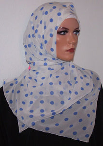 Girls White With Blue Dots  Shawl