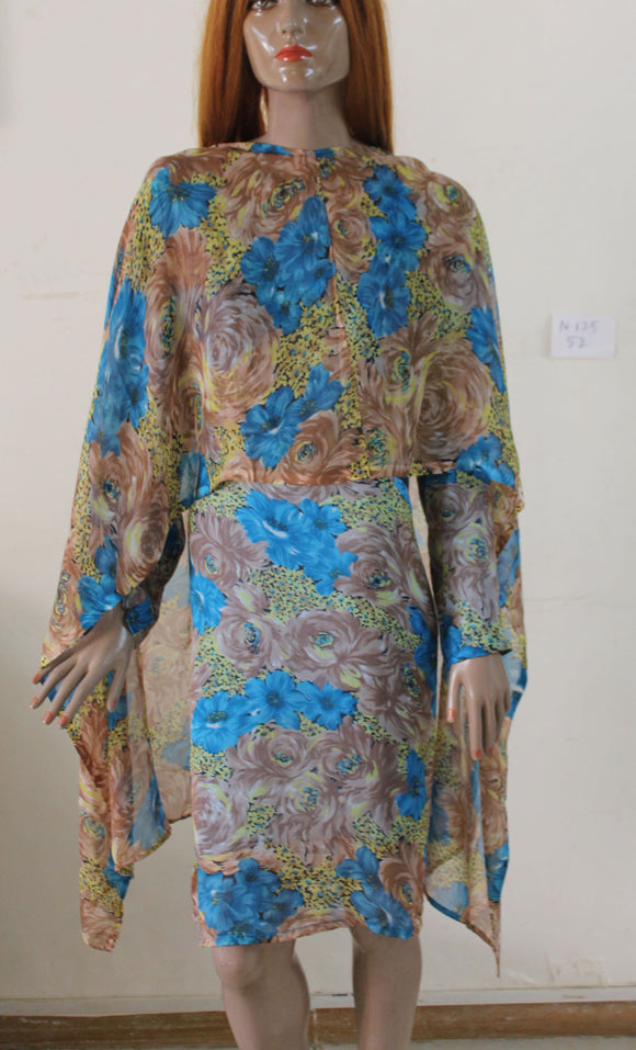 Blue N125 jacquard Indian Clothing Women Kurta Tunic Dress Free Dupatta Plus Size 52