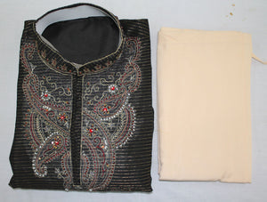 Black M71 Mens Kurta Salwar jacquard Free Shawl All Sizes