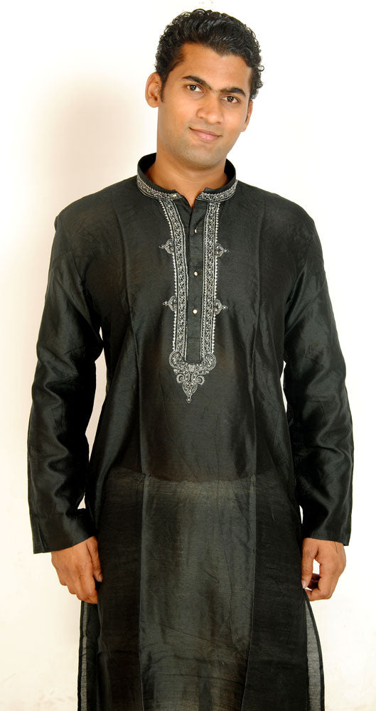 Black Embroidered Men Kurta Set