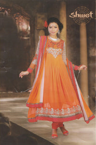 Orange Designer Exclusive anarkali Churidar Indian Party Wedding Wear Plus Size 52