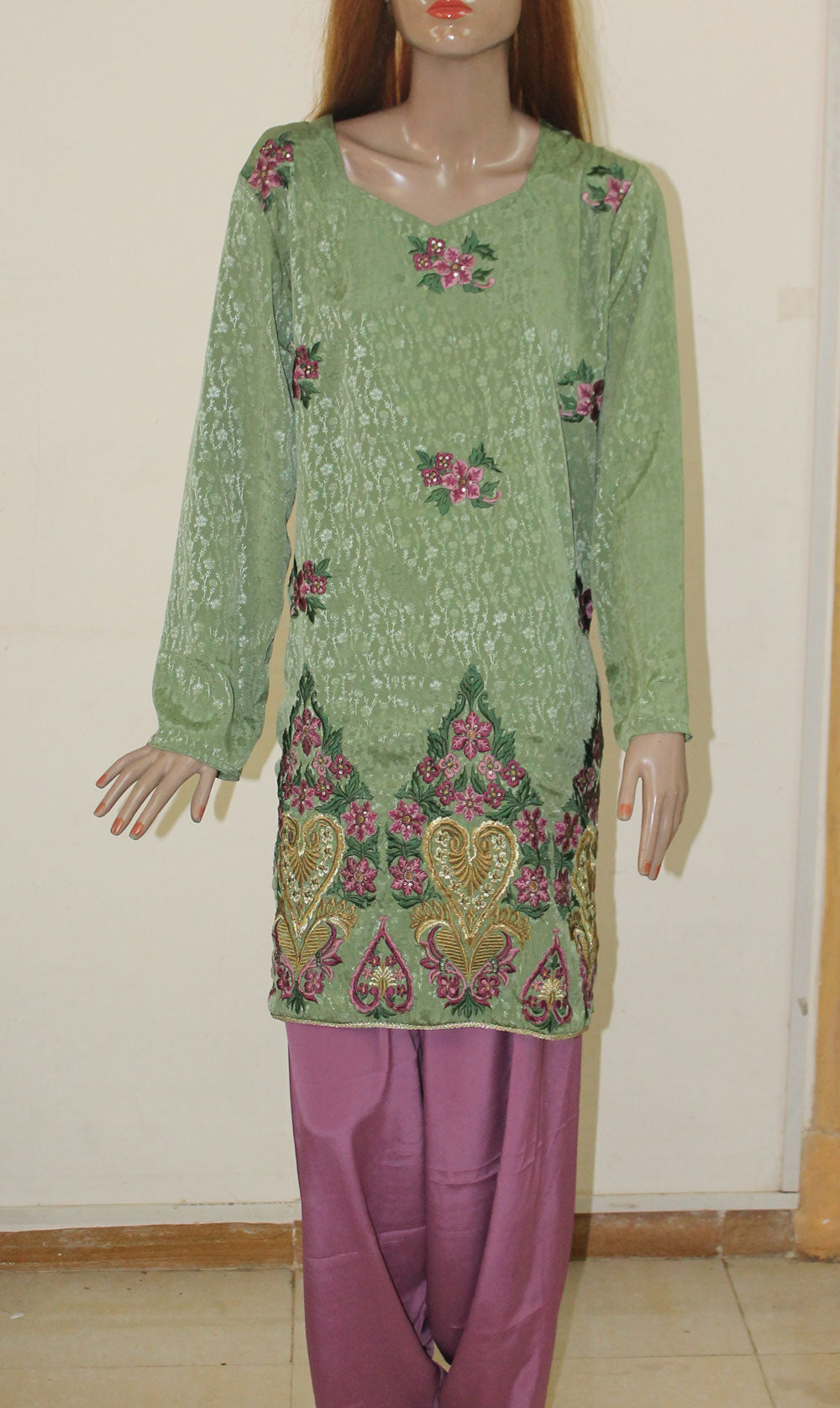 Moss Green And Plum Colored Plus Size Salwar Kameez