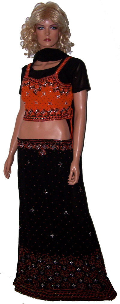 Black Orange Collection Lehenga Choli