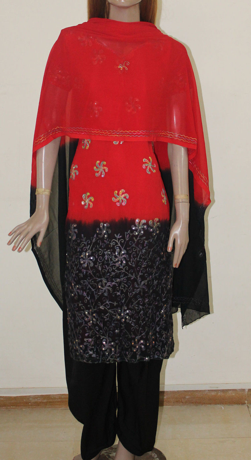 Red Black Salwar kameez
