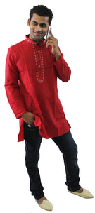 Red Mens Kurta Casual Wear on Jeans Top Long Kurta Shirt