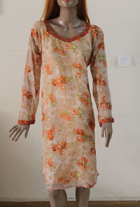 Orange N119 jacquard Indian Clothing Women Kurta Tunic Dress Free Dupatta Plus Size 54