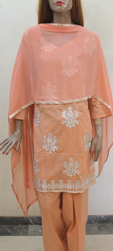 Peach Cotton Silver Work Plus Size Salwar Kameez