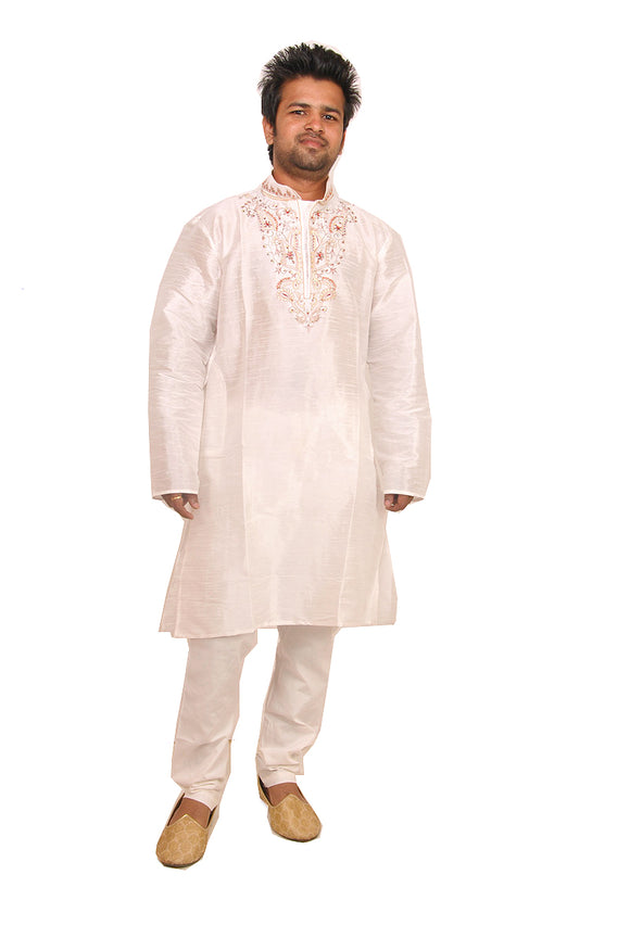 White Silk Men Kurta Set Indian Wedding Party Formal Wear