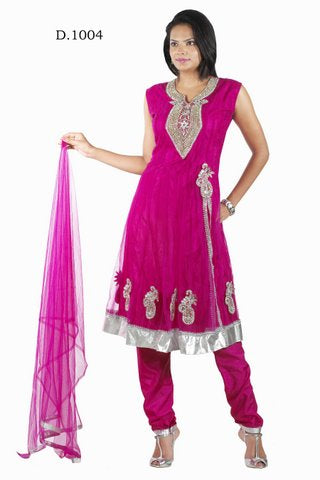 Hot Pink Net Anarkali Churidar