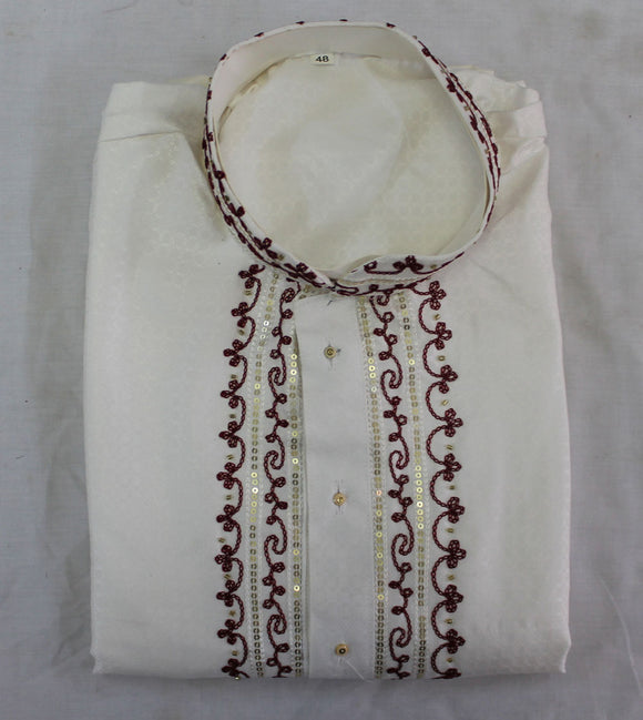 White Embroidered Mens Kurta Set