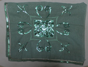 Green Beaded Bridal Hijab Scarf Scarves