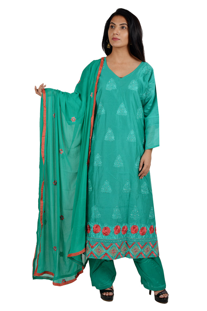 Green Cotton Embroidered Plus Size 56 Salwar Kameez Dress