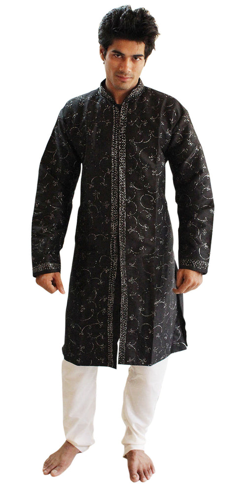 Black  Silk Sherwani Men Kurta Set Indian wedding Party Formal Wear