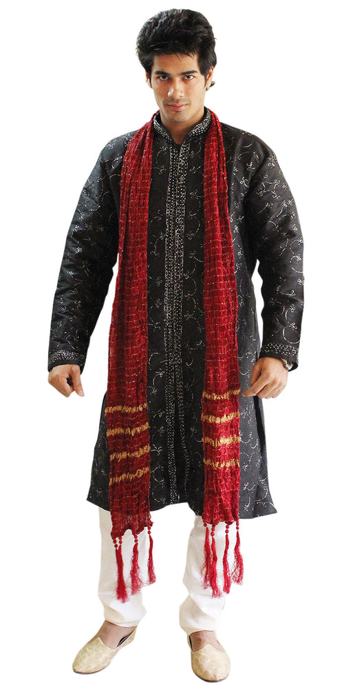 Load image into Gallery viewer, Black  Silk Sherwani Men Kurta Set Indian wedding Party Formal Wear