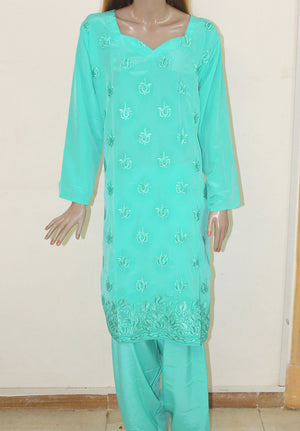 Load image into Gallery viewer, Blue Salwar kameez  Plus Size 52