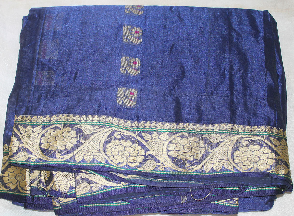 Apparelsonline Royal  Blue  Embroidered Silk Sari  By Noor Designs