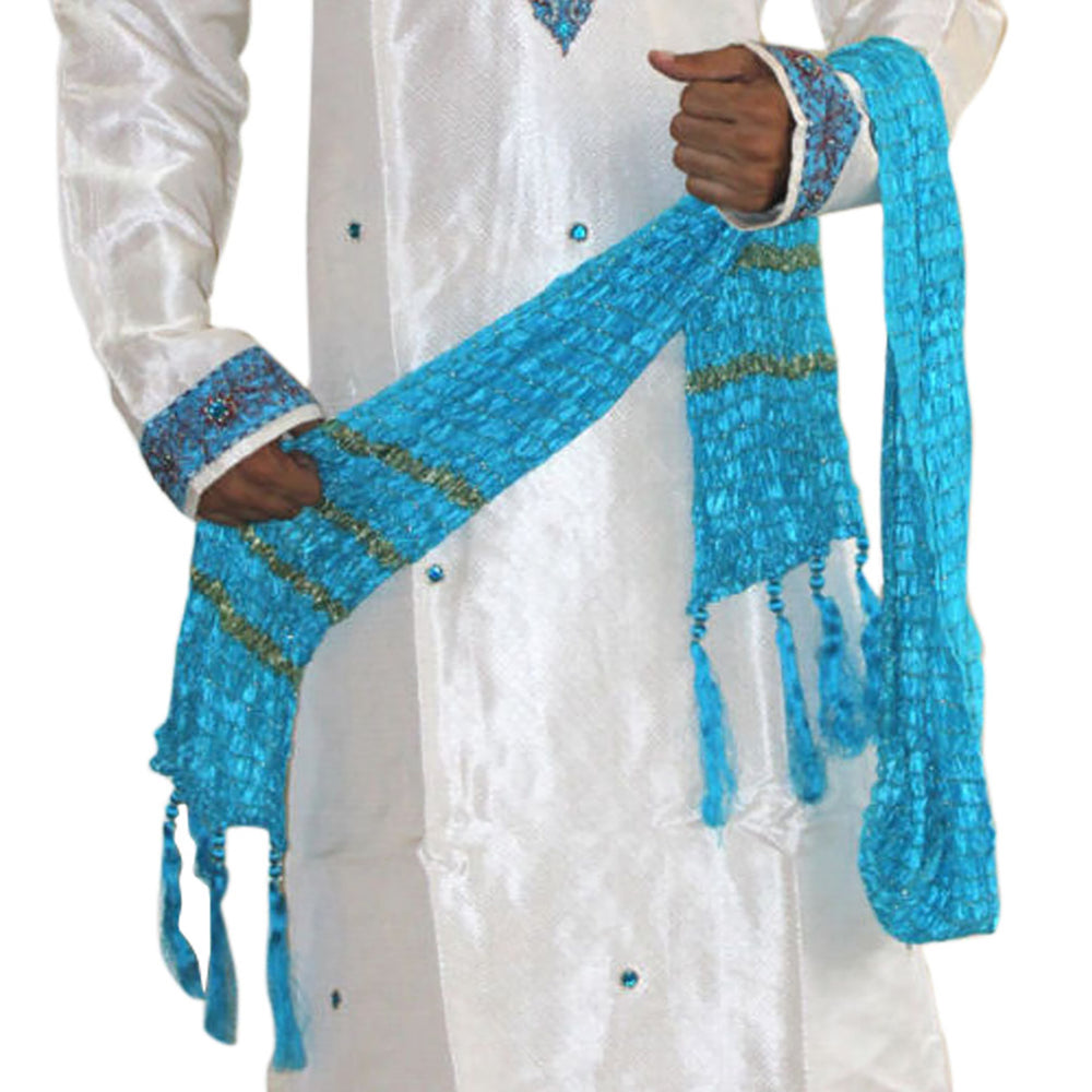 Apparelsonline Blue Traditional  Men Dupatta Shawl Match  Kurta Sherwani