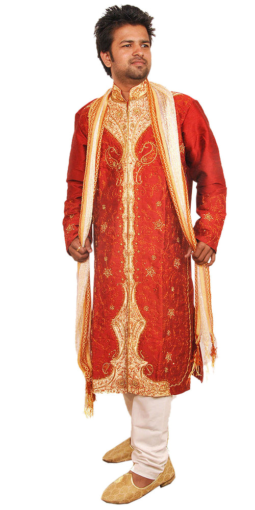 Designer Burgundy Men's Sherwani with Matching Beads Shawl | Ethnic Burgundy Men's Sherwani