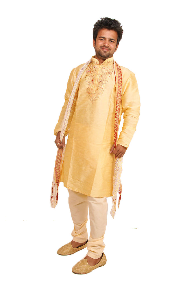 Golden  Silk  Men's Kurta Salwar with Matching Shawl | Ethnic Men's Kurta Salwar