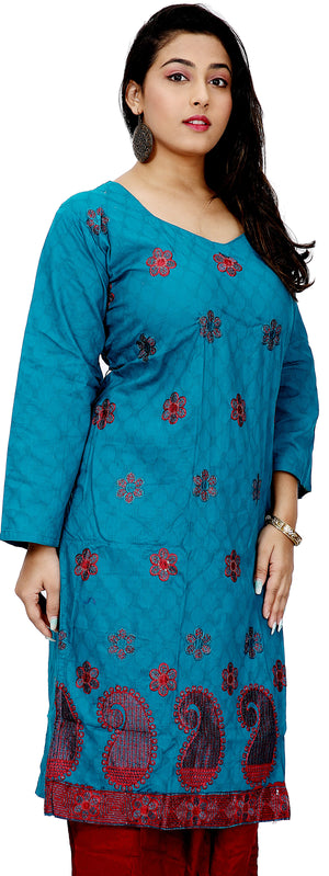 Load image into Gallery viewer, Blue  Embroidered  Salwar kameez Dress Chest size 52