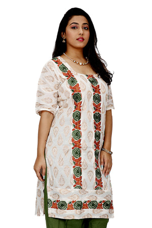 Cream embroidered  Cotton Salwar kameez Dress  Size 46