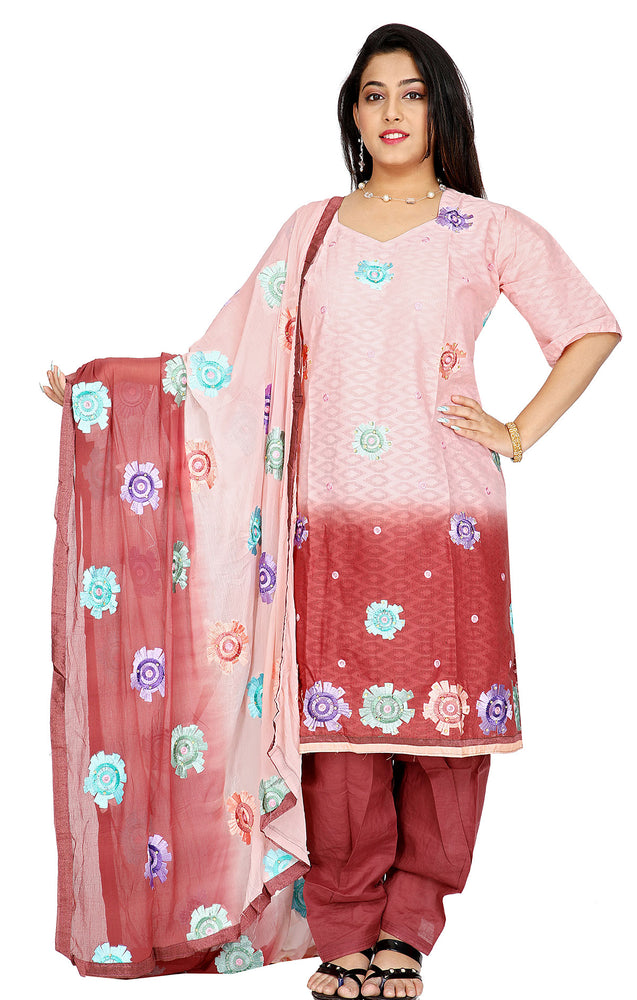 2 Tone Cotton Embroidered  Salwar kameez  Plus Size 52