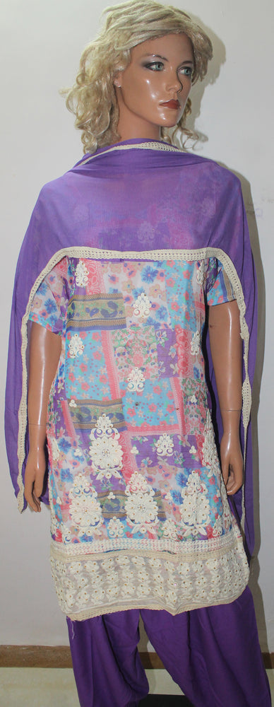 Purple Designer Embroidered  Salwar kameez  Chest plus  size 48