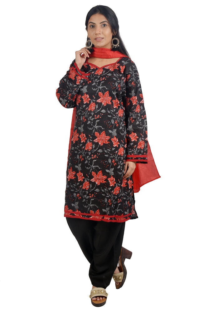 Red Black Cotton Salwar kameez Dress Plus Size 52 Full Sleeves