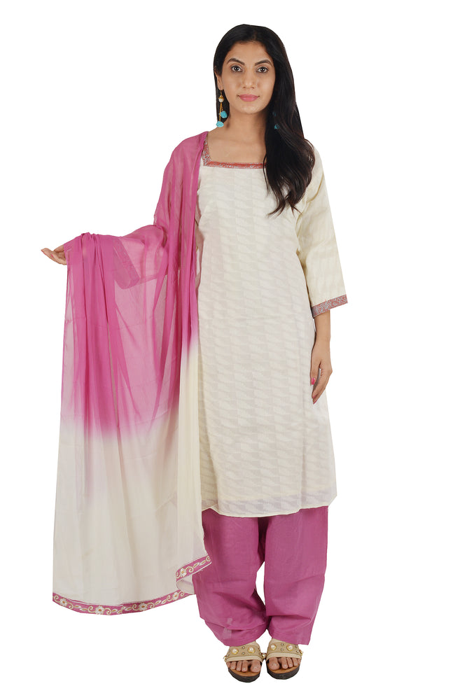 Load image into Gallery viewer, Cream Cotton Salwar kameez Dress Plus chest Size 50