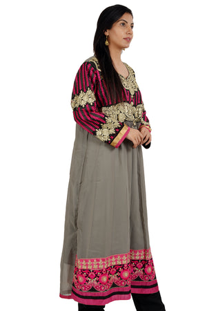 Gray Anarkali  Embroidered  Salwar kameez chest Plus  Size 44