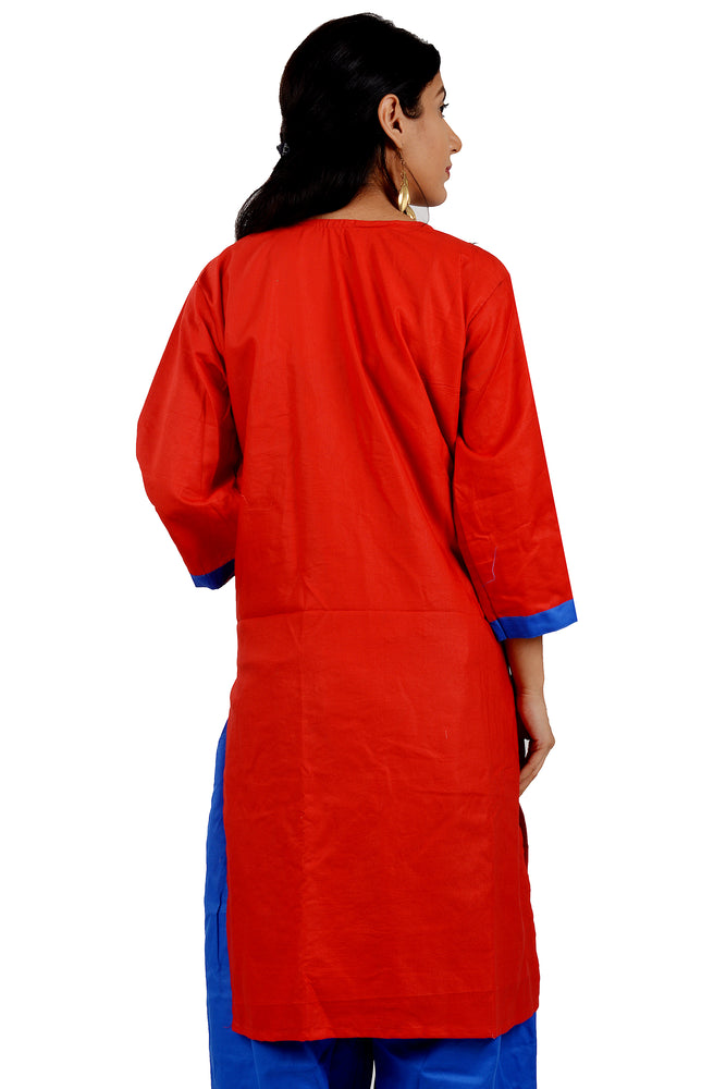 Load image into Gallery viewer, Red  Cotton Salwar kameez Dress  chest Size 46