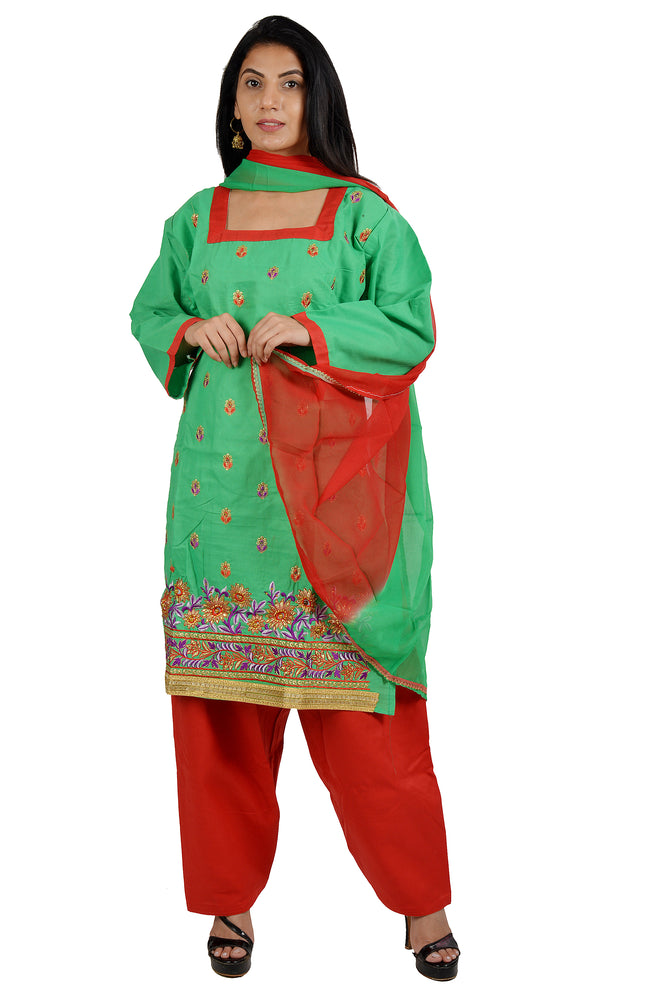 Green Cotton Salwar kameez Dress Plus chest Size 48