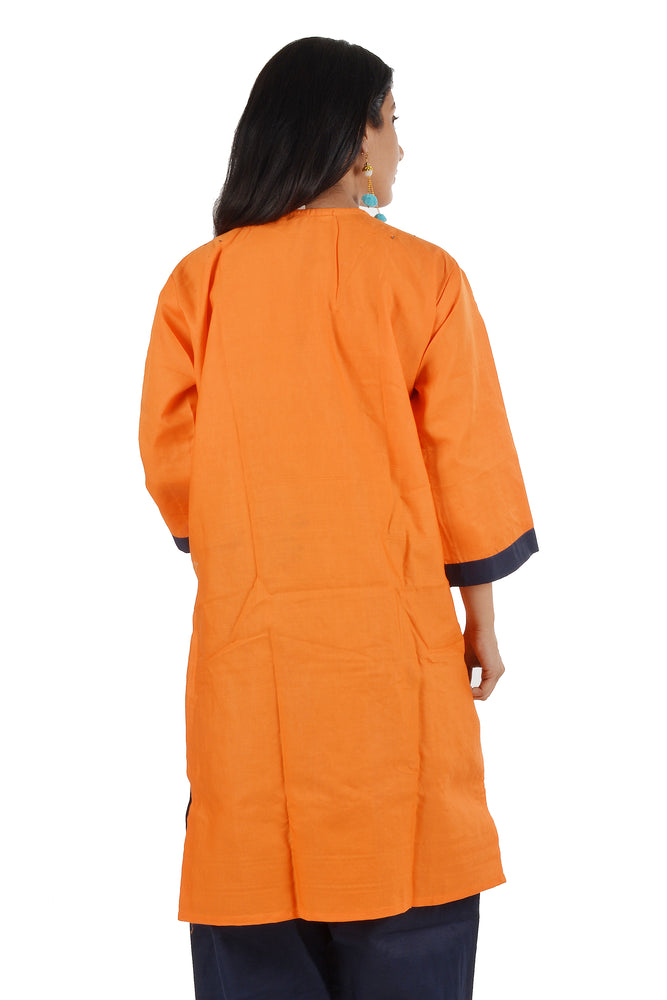 Orange Cotton Salwar kameez Dress Plus chest Size 42
