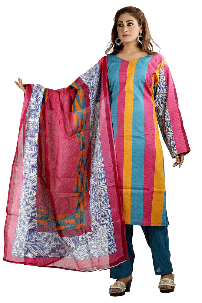 Load image into Gallery viewer, Blue Designer Cotton Floral Print Salwar kameez chest Pus  size 56