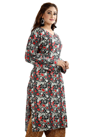 Load image into Gallery viewer, Black Cotton Floral Print Salwar kameez chest Pus  size 52